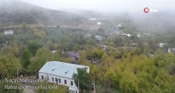Ermenistan işgalinden kurtarılan Tuğ köyü ve Hadrut kasabası havadan görüntülendi