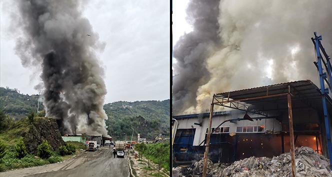 Giresun'da katı atık çöp tesisinde yangın
