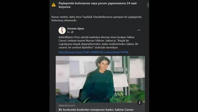 Facebook Sakine Cansız haberini sansürledi